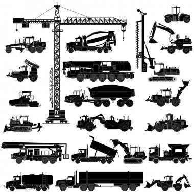 Set of heavy construction machines silhouettes, icons, isolated