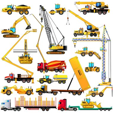 Color set of heavy construction machines icons, on white