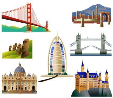 World Landmarks set. Vector