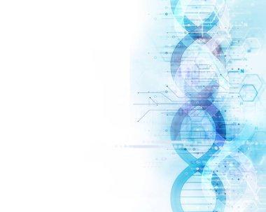 3d illustration of human head on dna molecules  abstract technol