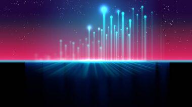 Retro futuristic background 1980s style 3d illustration.