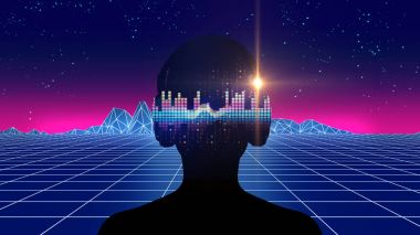 3d illustration of human with headphone on Audio waveform abstra