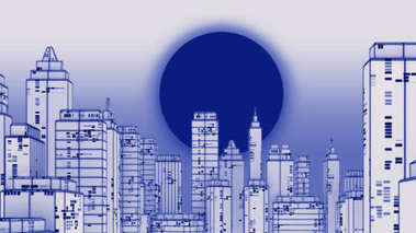 Retro futuristic skyscraper city wireframe photocopy  style 3d illustration. Digital landscape in a cyber world.