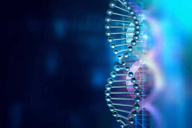 dna molecules on abstract technology background