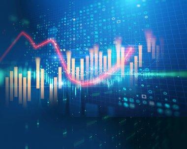 stock market chart data screen on technology background