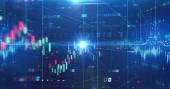 Fotografie obrazovka data grafu akciového trhu na pozadí technologie