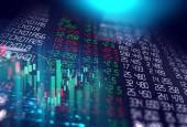 obrazovka data grafu akciového trhu na pozadí technologie