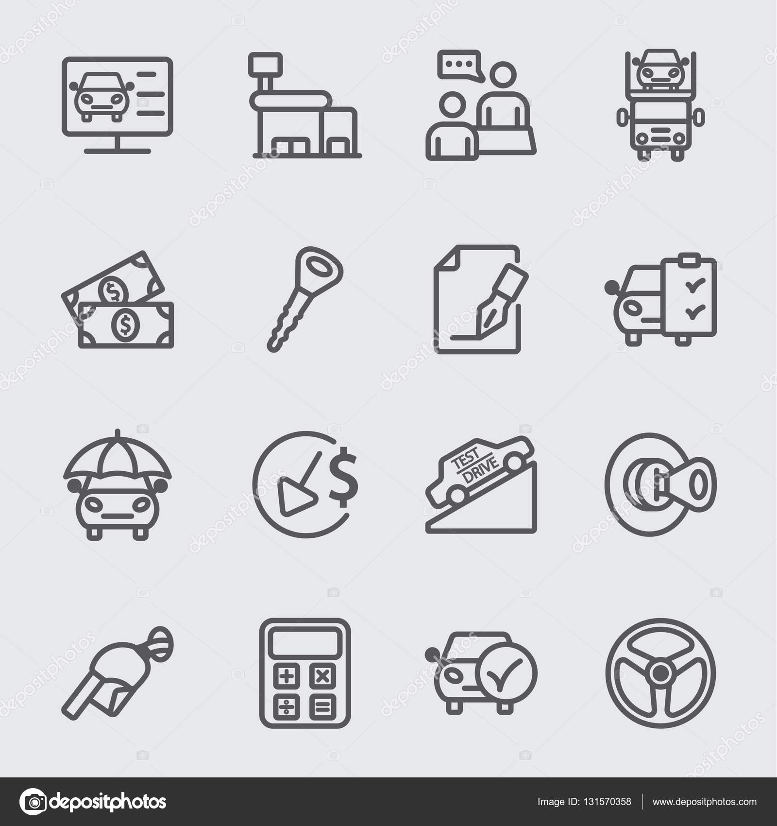 Icono de línea de concesionario de coches — Vector de stock ...