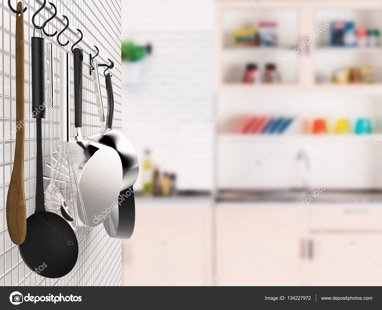 kitchen rack hanging with kitchen background — Stock Photo ...