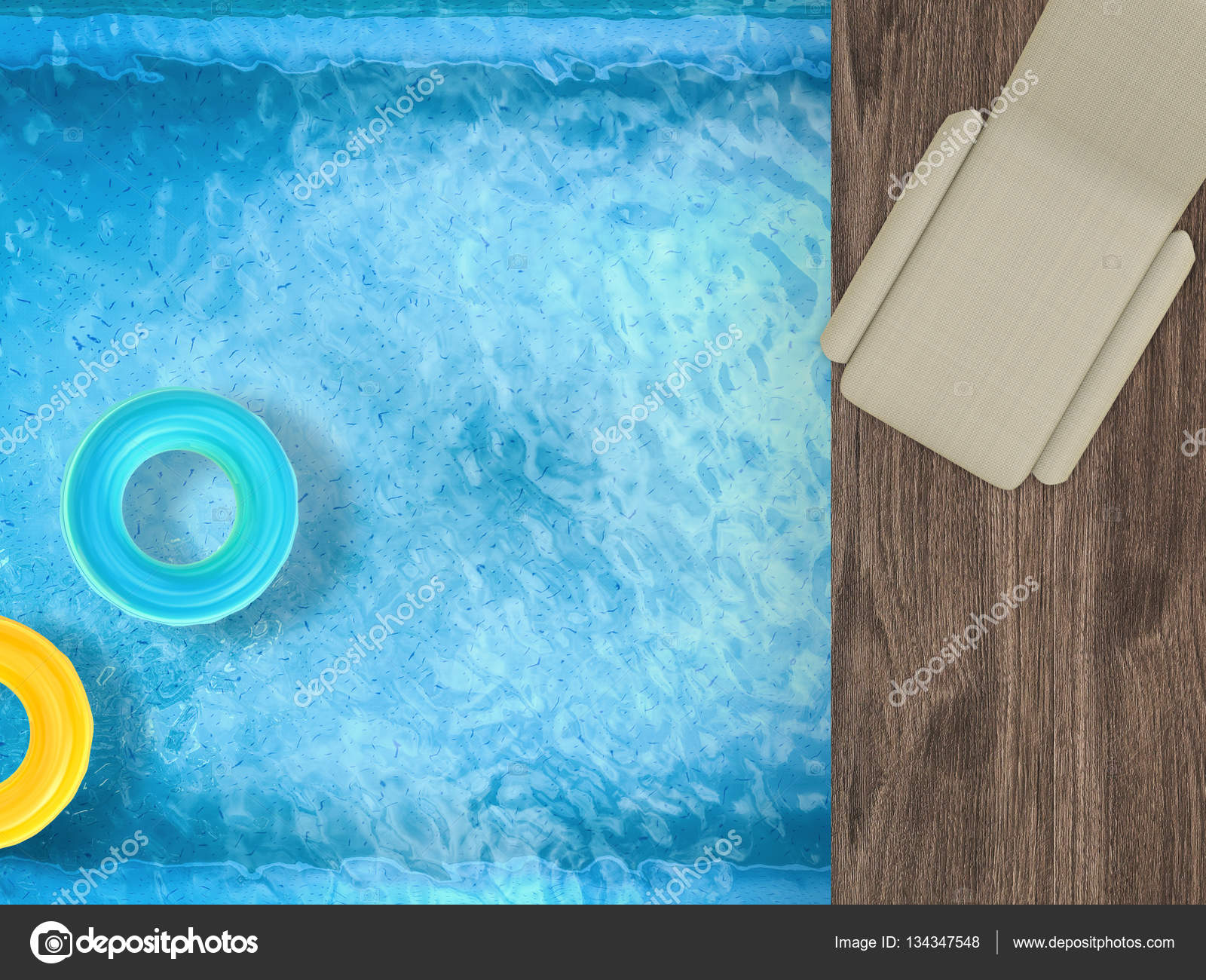 3d Rendering Pool Top View With Daybed Laptop And Swim Rings Photo By Phonlamai