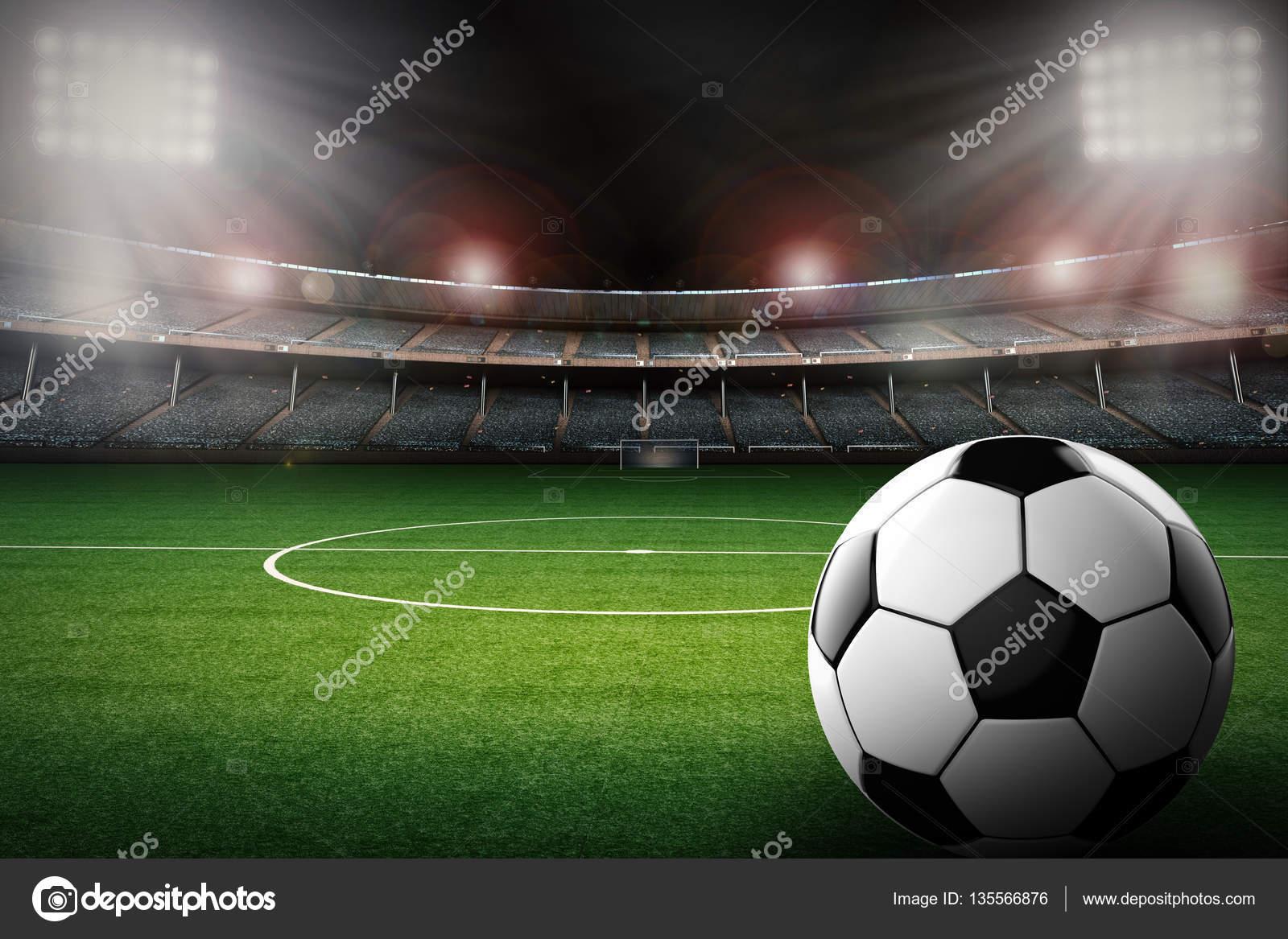 balón de fútbol con fondo del estadio de fútbol — Fotos de Stock ... 592890e9786e3