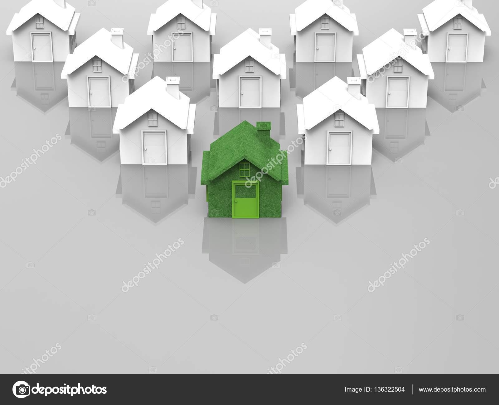 Maison verte en face du village de la maison blanche image de phonlamai