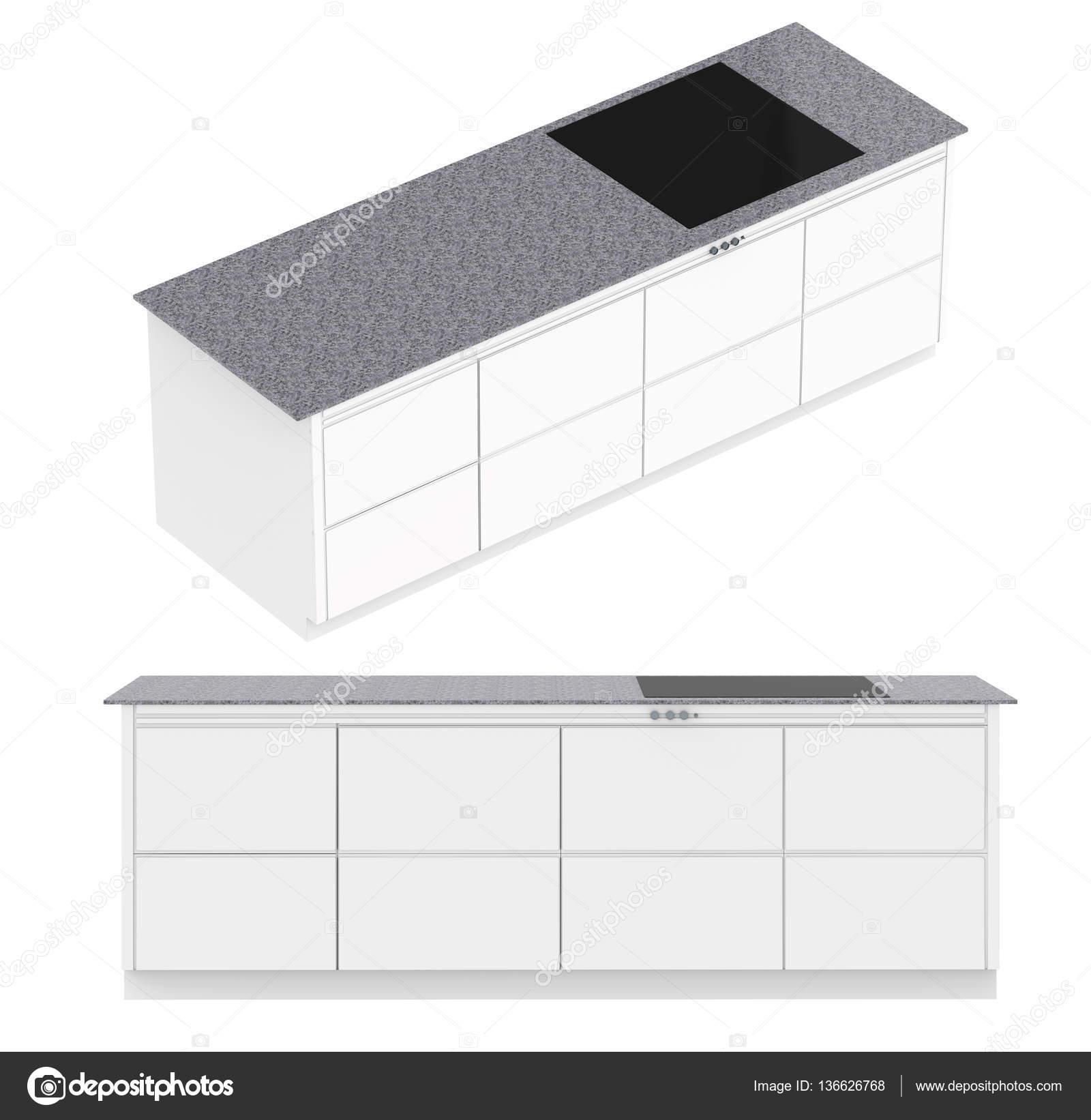 Küchenschrank mit Ofen isoliert auf weiss — Stockfoto © phonlamai ...