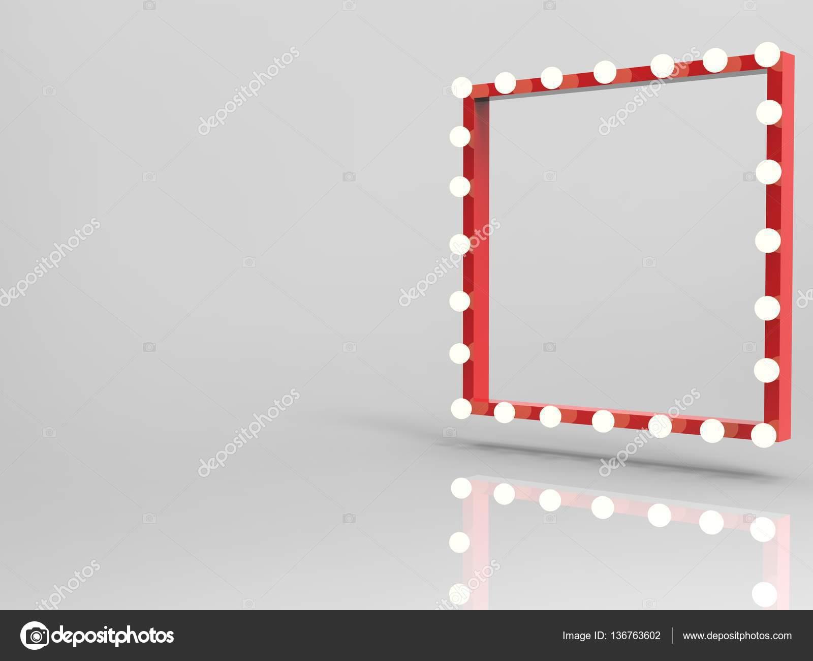 roter Rahmen mit Glühbirnen surround — Stockfoto © phonlamai #136763602