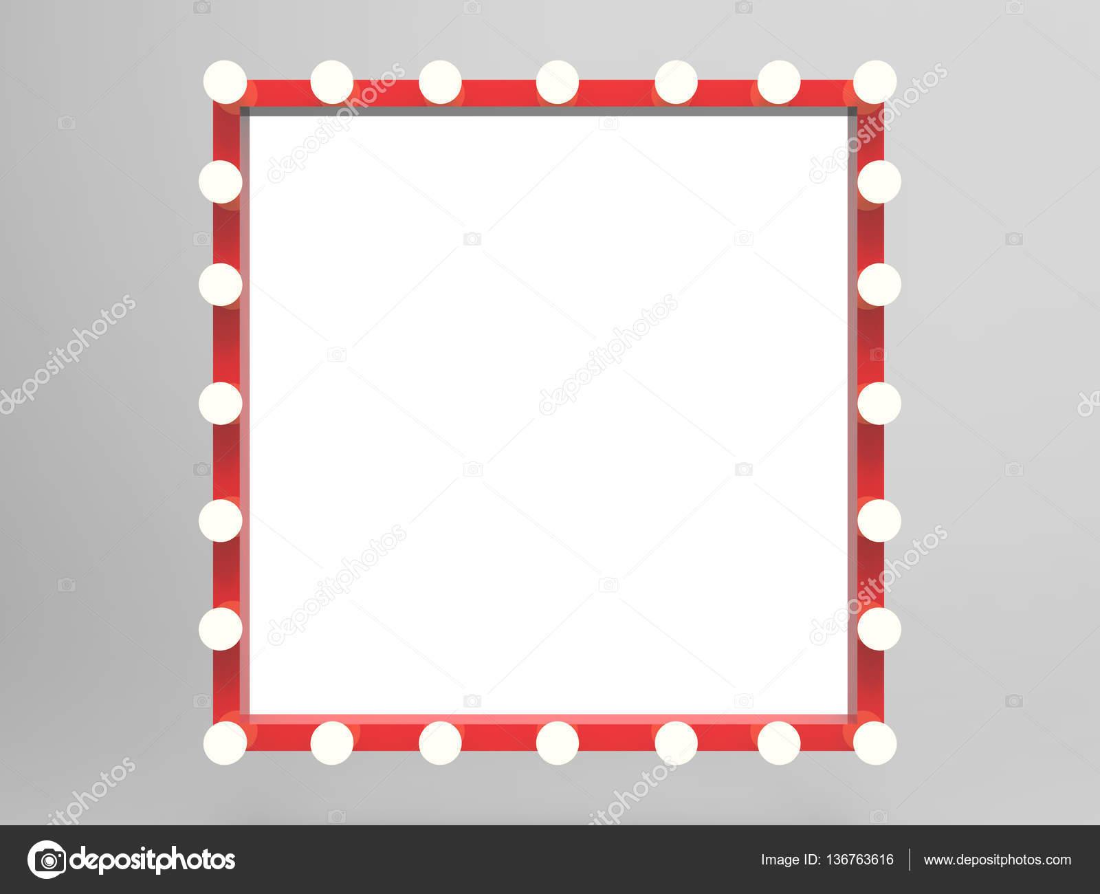 roter Rahmen mit Glühbirnen surround — Stockfoto © phonlamai #136763616