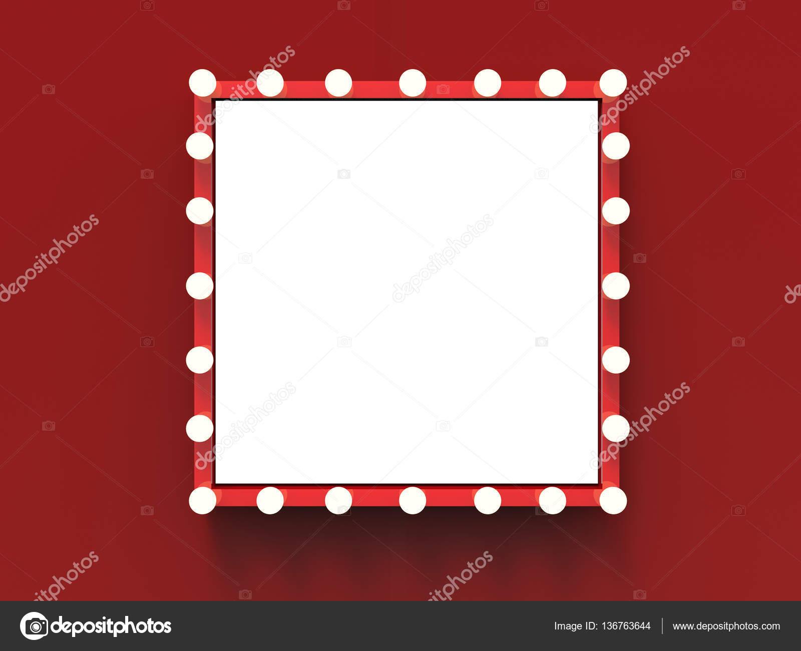 roter Rahmen mit Glühbirnen surround — Stockfoto © phonlamai #136763644