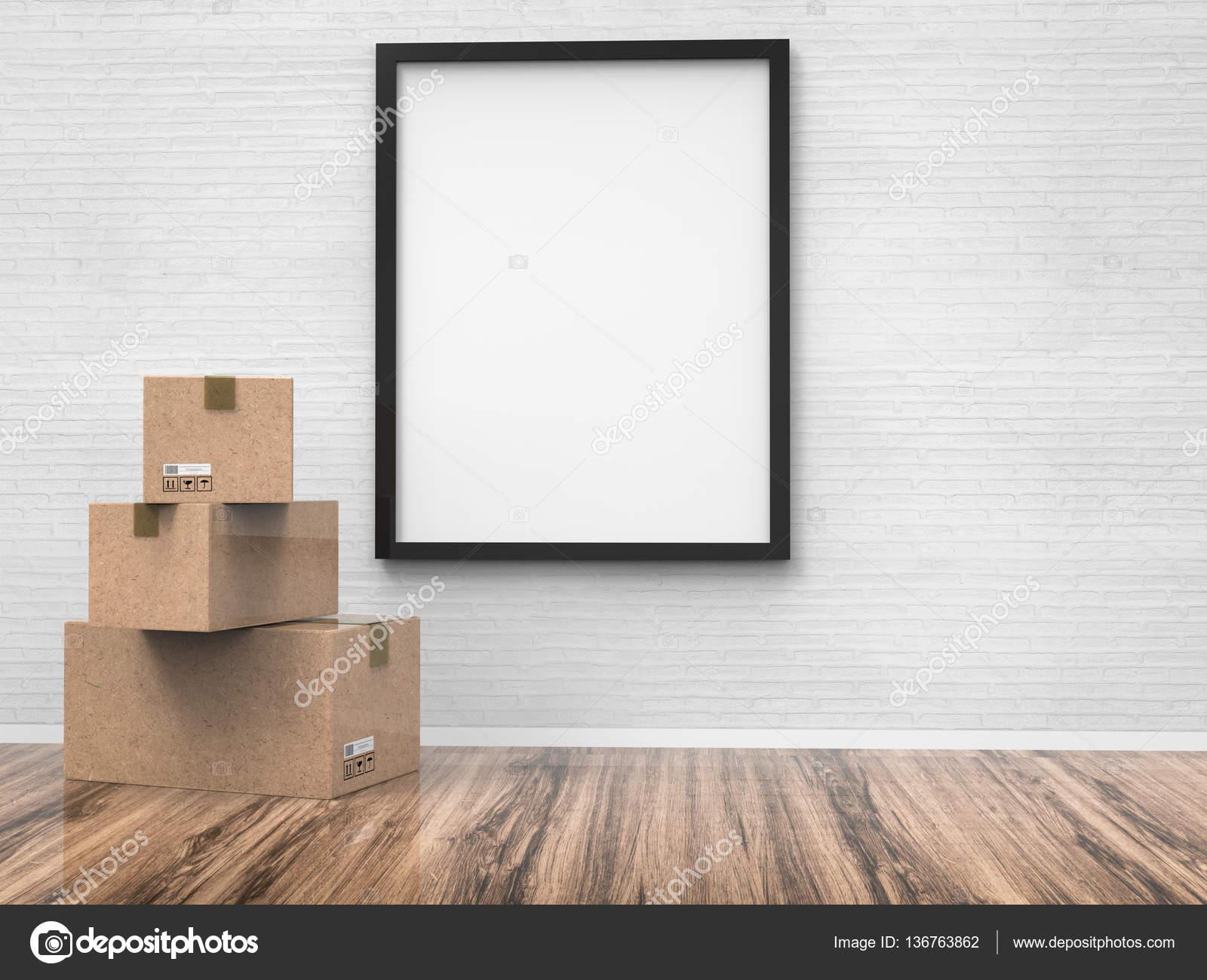 tablero vacío con cajas de cartón — Foto de stock © phonlamai #136763862