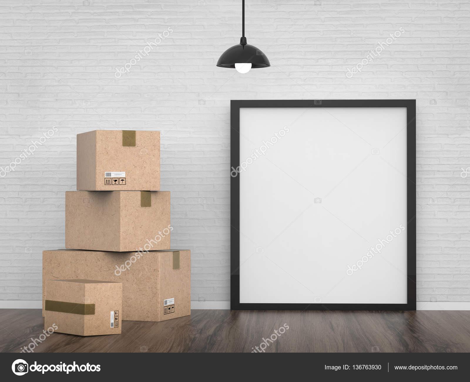 tablero vacío con cajas de cartón — Foto de stock © phonlamai #136763930