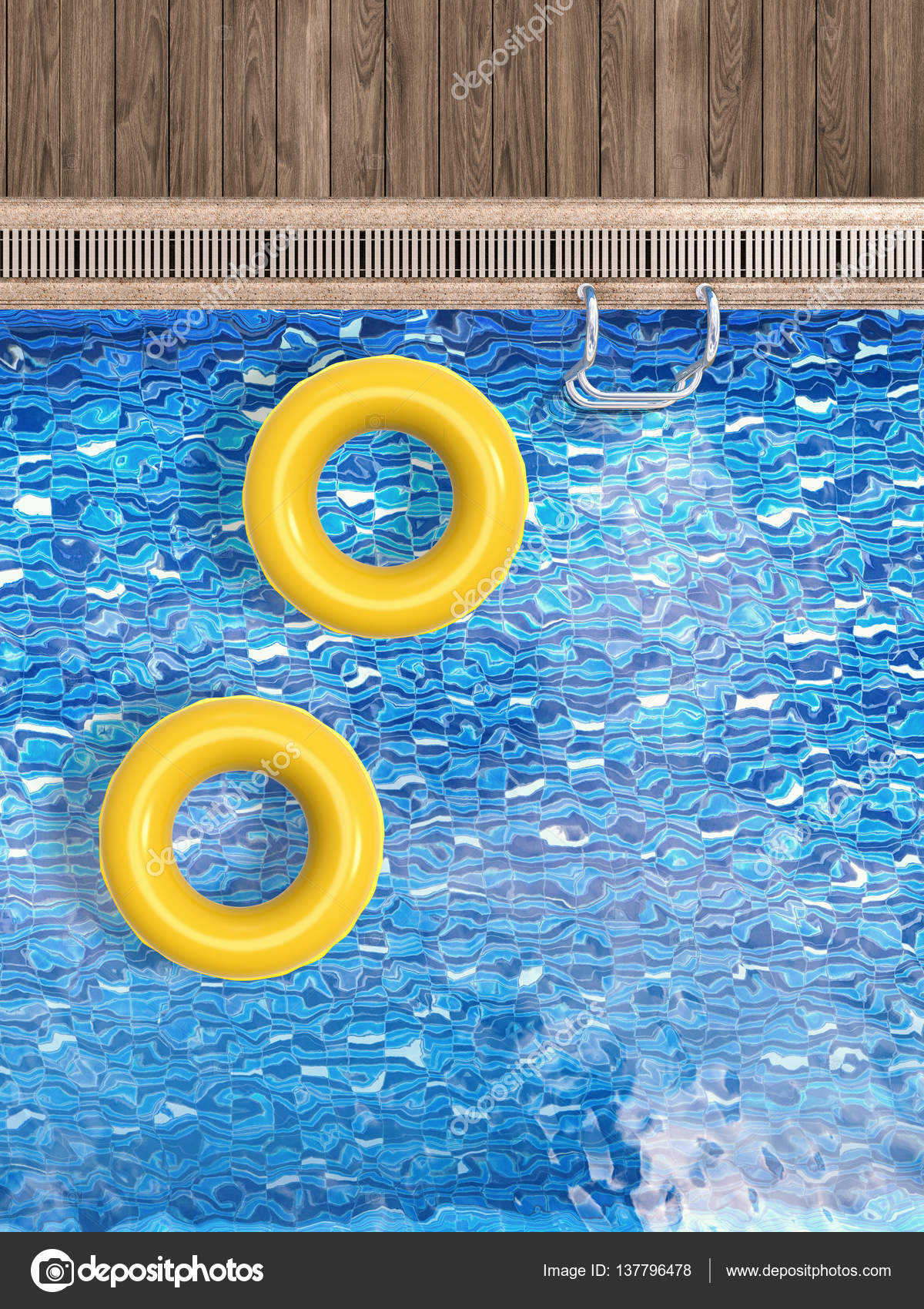 3d Rendering Pool Top View With Swim Ring And Ladder Photo By Phonlamai