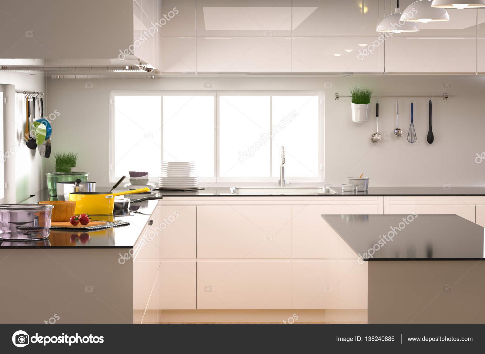Küche Interieur mit leeren Zähler — Stockfoto © phonlamai #138240886