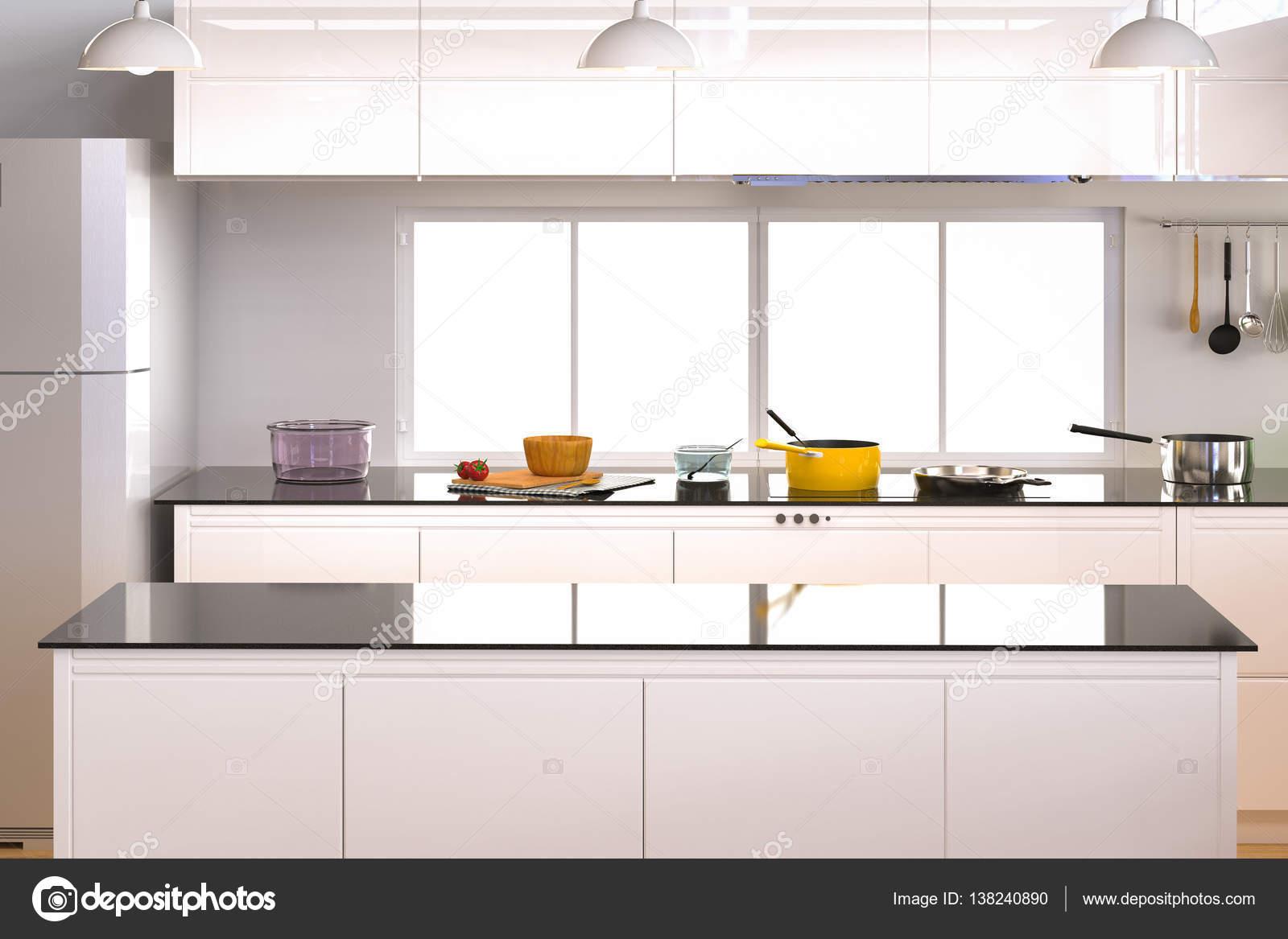 3d rendering keuken interieur met lege counter foto van phonlamai
