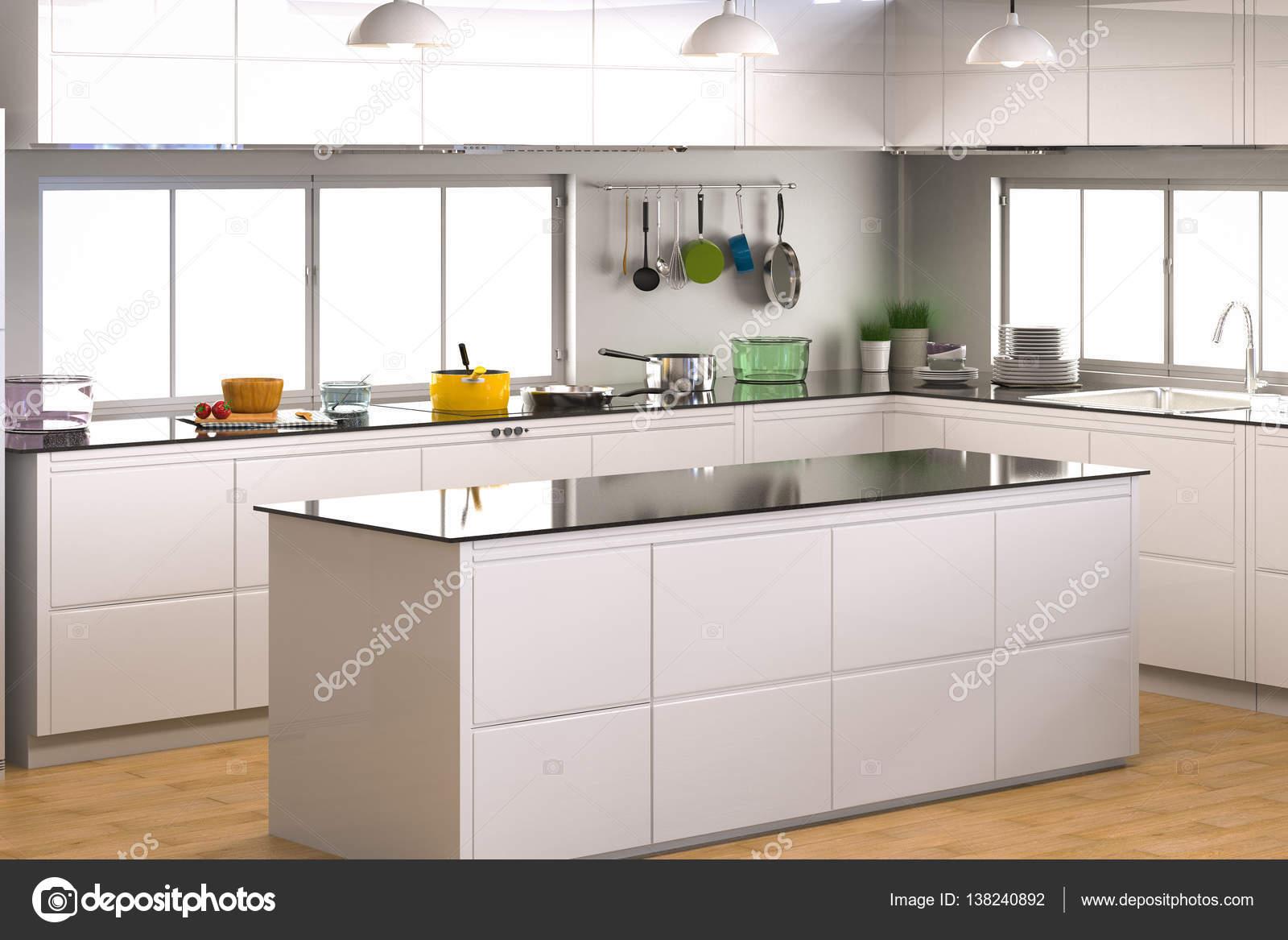 interiore della cucina con bancone vuoto — Foto Stock © phonlamai ...
