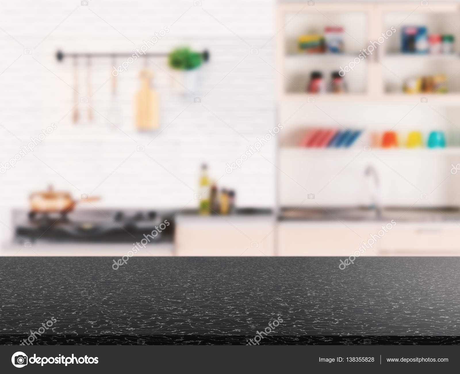 Granit-Arbeitsplatte mit Küchenschrank Hintergrund — Stockfoto ...