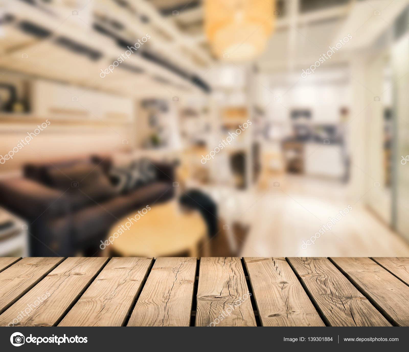hölzerne Theke mit Wohnzimmer-Hintergrund — Stockfoto © phonlamai ...