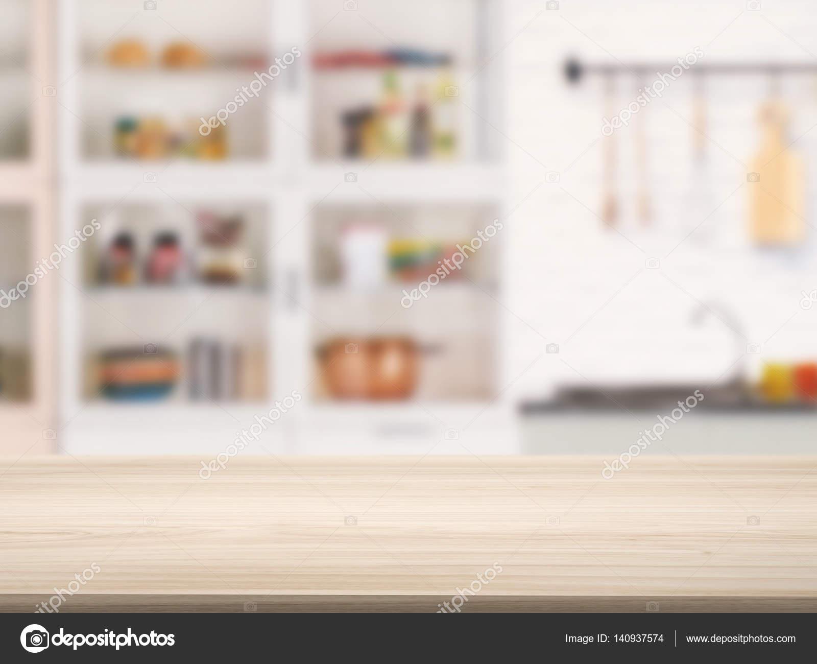 hölzerne Arbeitsplatte mit Küche-Hintergrund — Stockfoto © phonlamai ...