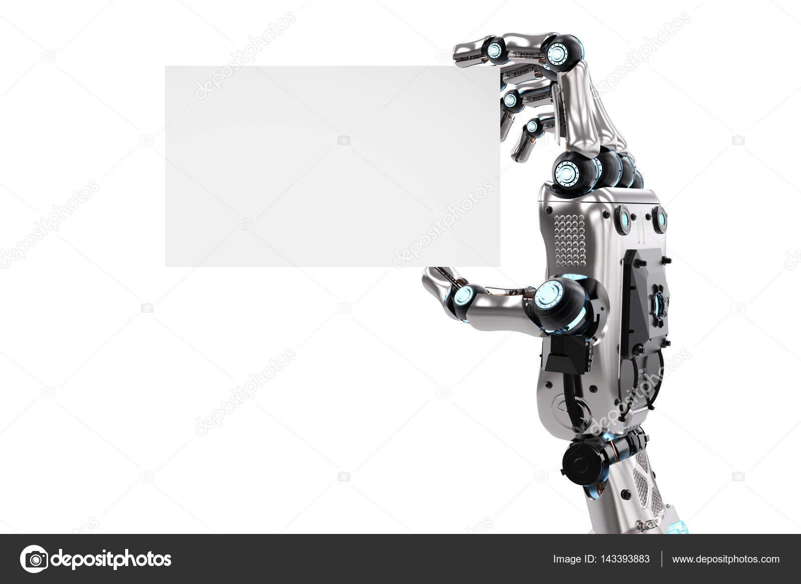 robot hand holding blank business card — Stock Photo © phonlamai ...