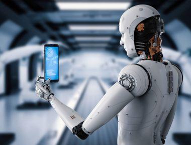 robot holding tablet