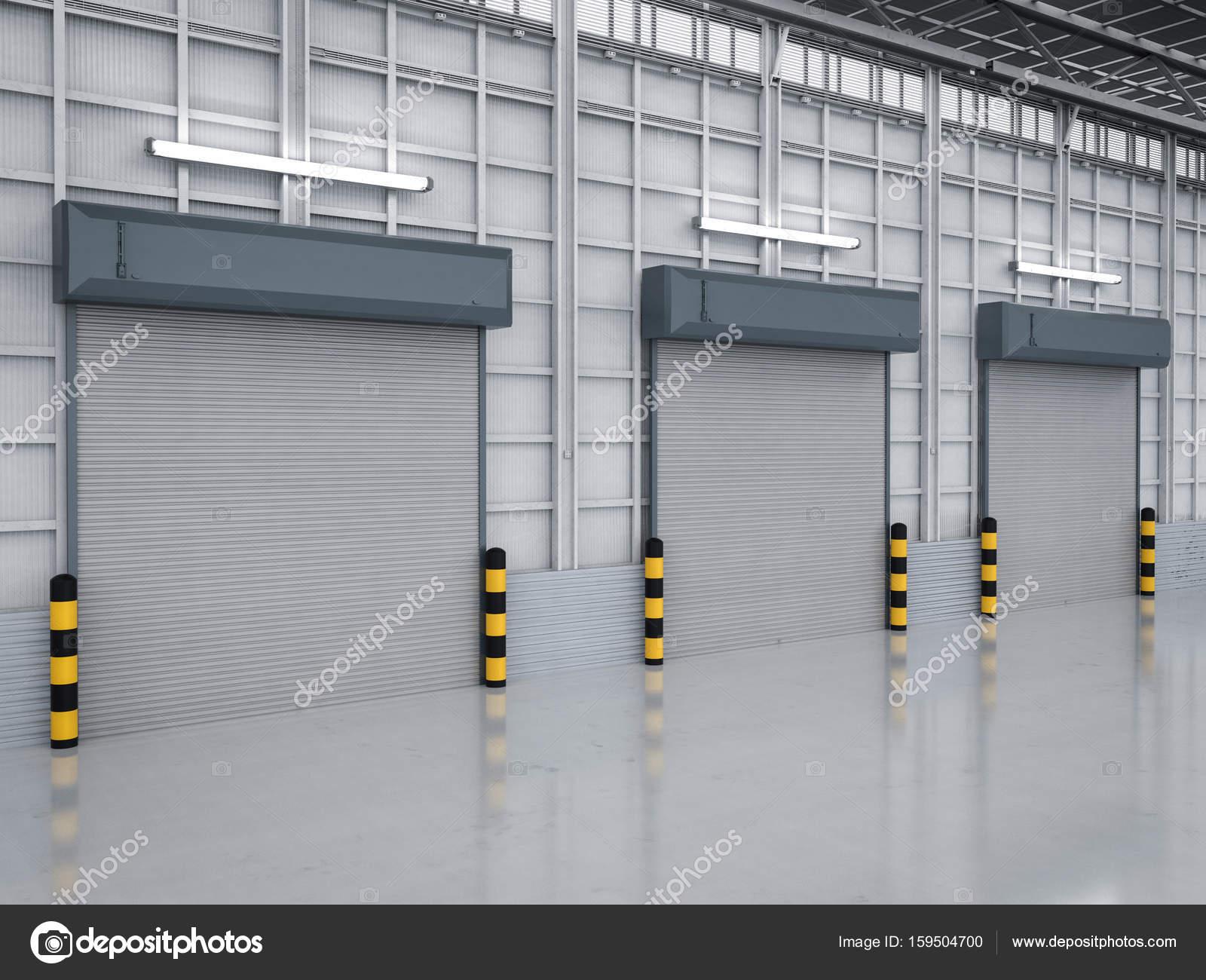 3d rendering warehouse interior with shutter doors closed u2014 Photo by phonlamai  sc 1 st  Depositphotos & warehouse interior with shutter doors u2014 Stock Photo © phonlamai ...