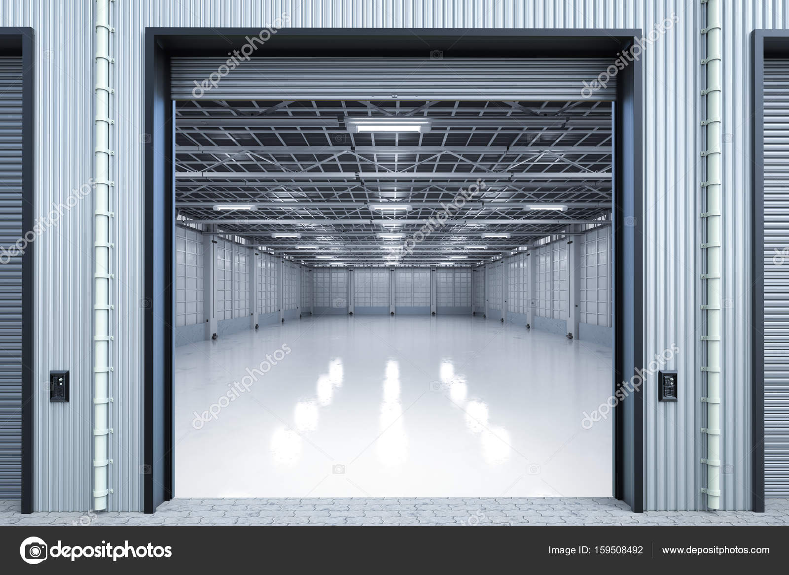 3d rendering warehouse interior with shutter doors opened u2014 Photo by phonlamai & warehouse interior with shutter doors u2014 Stock Photo © phonlamai ...