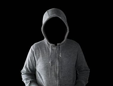 hooded man with empty face