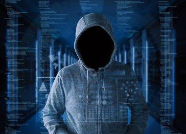 empty face hacker in server room