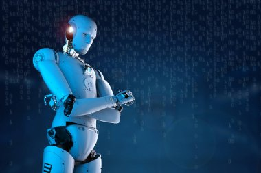 humanoid robot arm crosssed