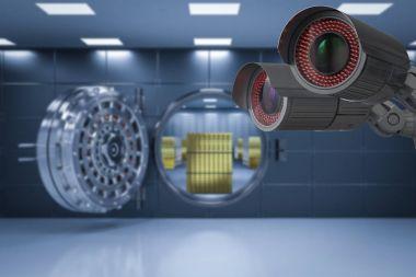 security camera in bank vault