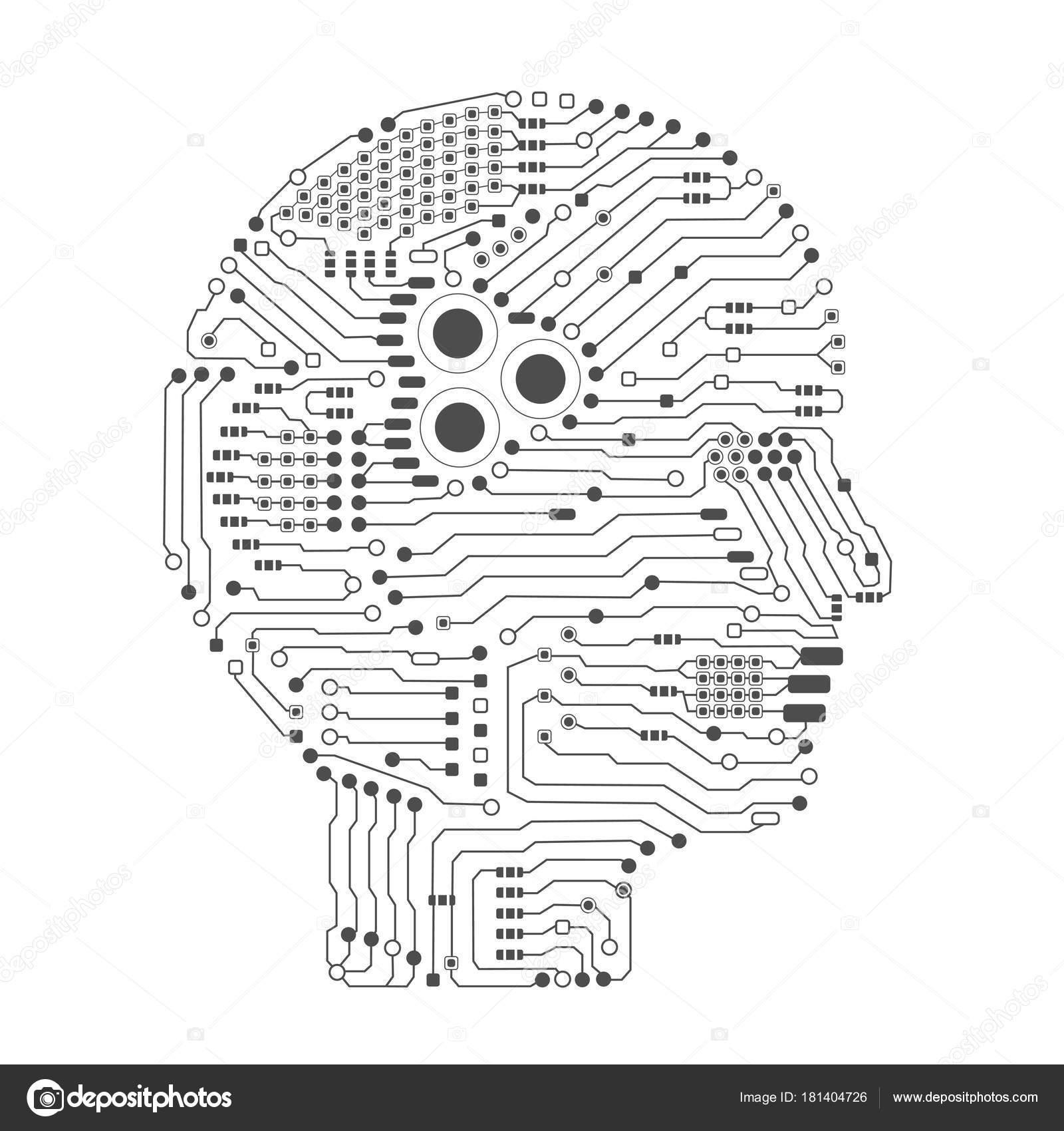 side vector circboard wiring diagram artificial intelligence brain circuit board head shape side view  artificial intelligence brain circuit