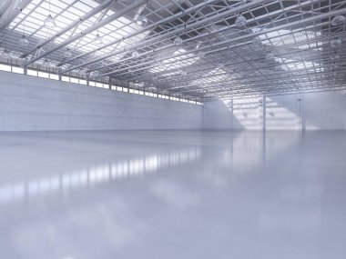 3d rendering empty factory interior with pendant lamp stock vector