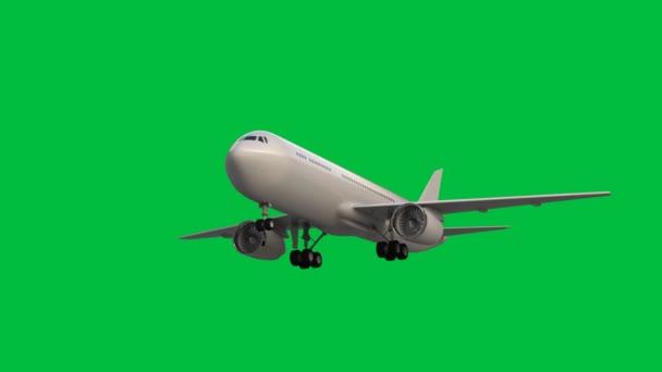 3D vykreslování letadlo létání v zeleném pozadí obrazovky