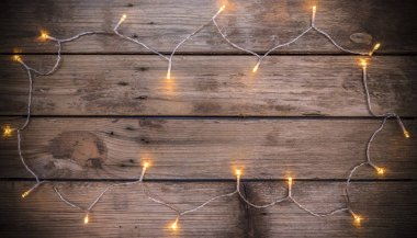Christmas rustic background with led lights
