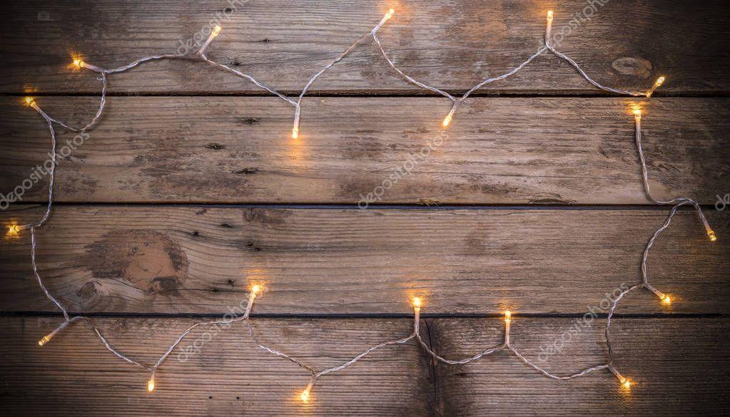 Kerstmis rustieke achtergrond met led verlichting — Stockfoto ...