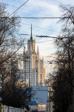 Moscow, view of the skyscraper on Kotelnicheskaya embankment