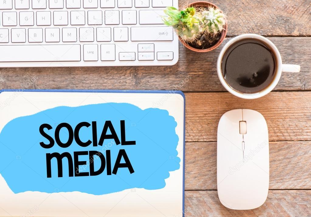 Social media card on work desk