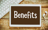 Fotografie Benefits inscription on blackboard