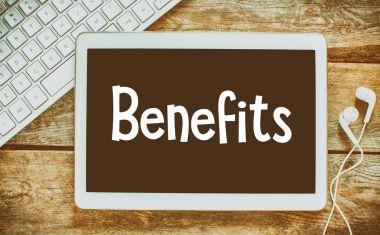Benefits inscription on blackboard