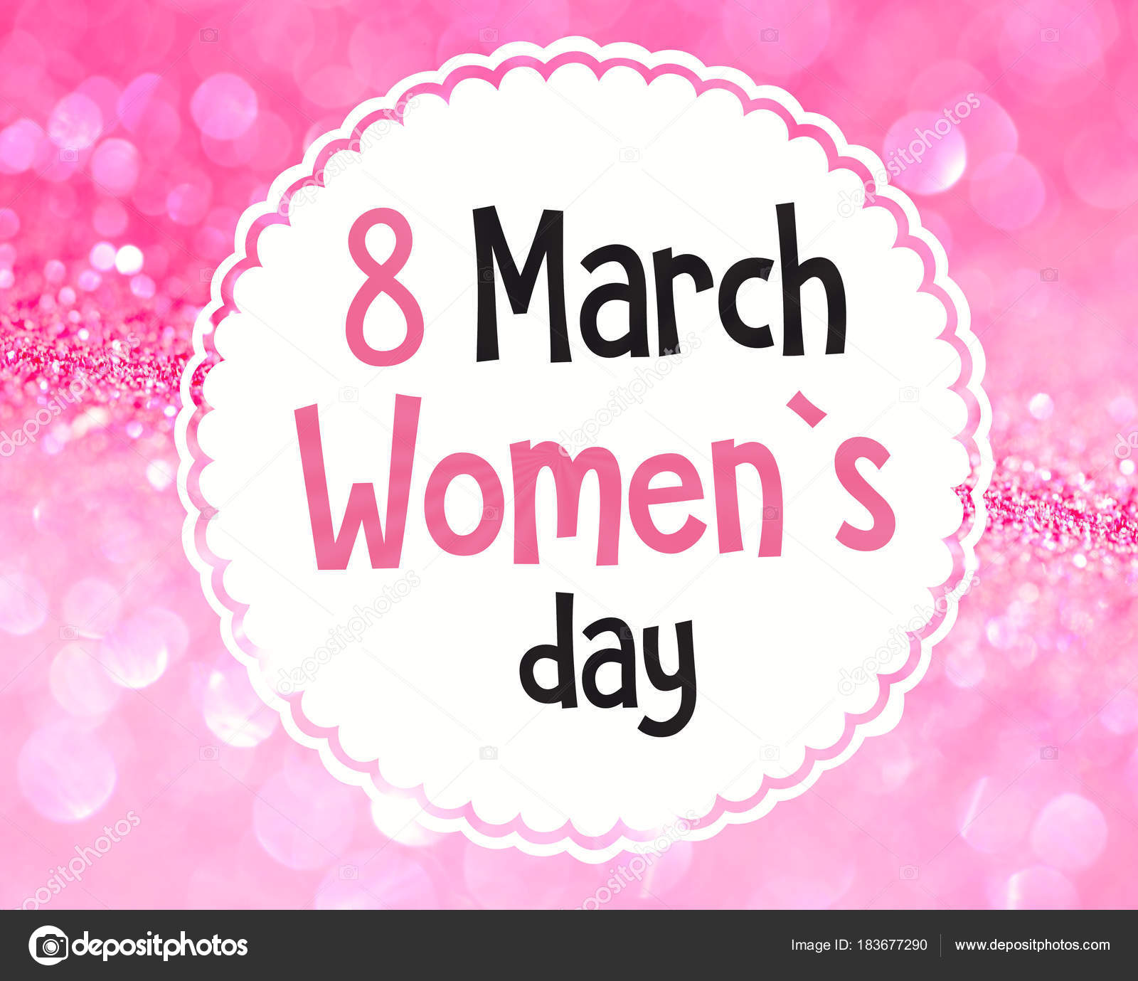 International Womens Day Greeting Card Pink Background Stock Photo