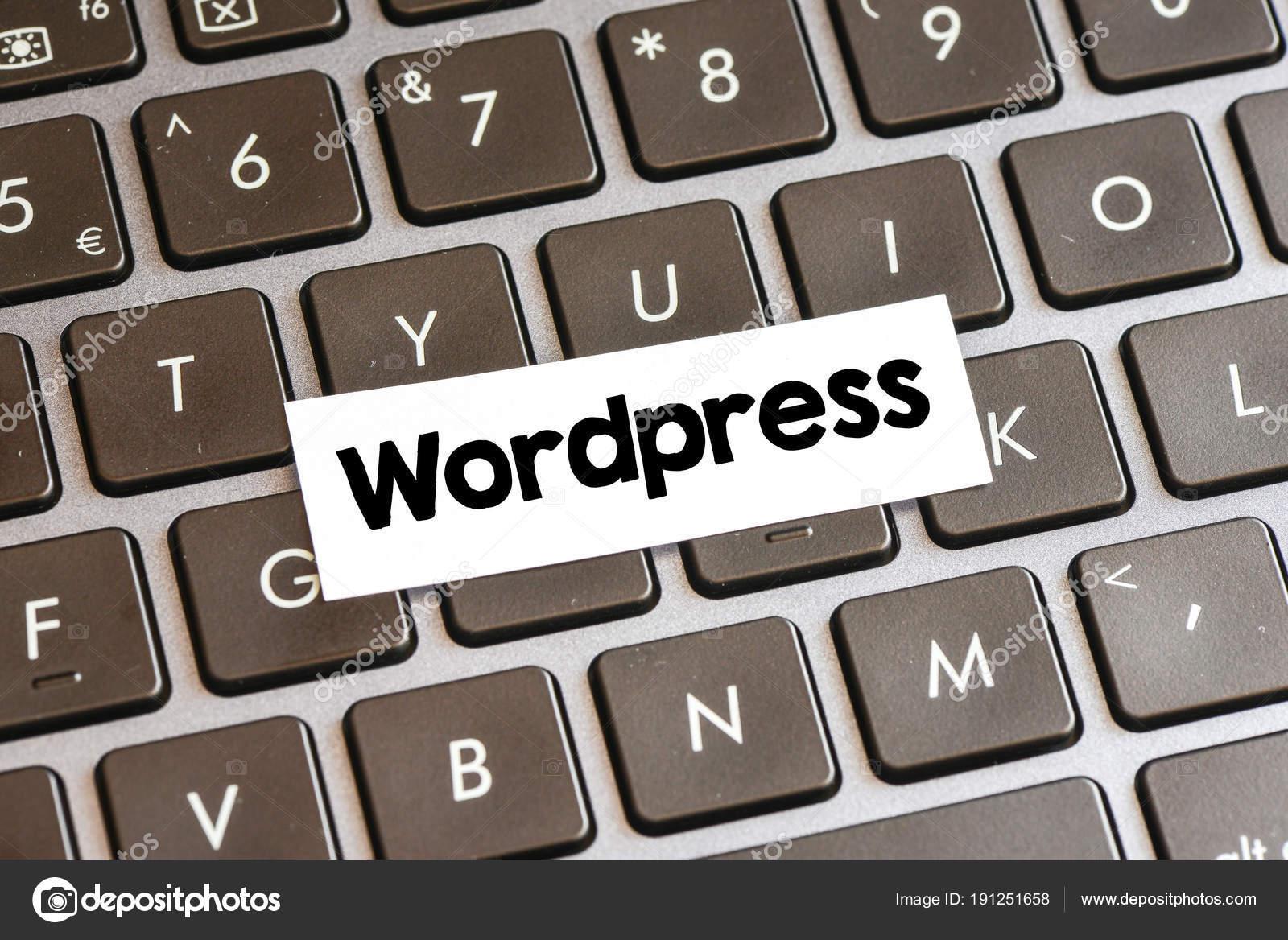 Closeup Laptop Keyboard Buttons Symbols Text Wordpress Stock Photo