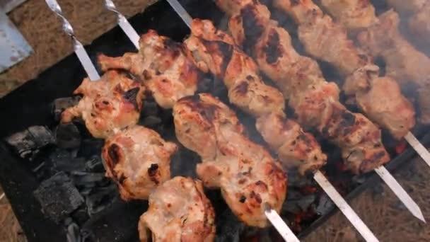 Skewers na pečení na grilu, zblízka. Grilování venku