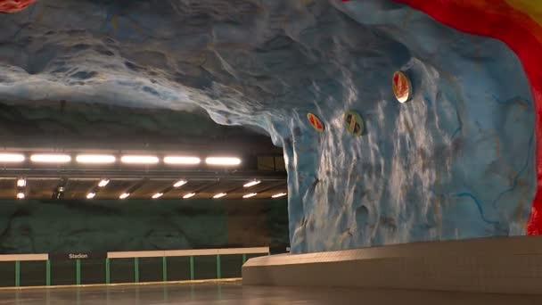 Stadion Metro Station Art In The Subway Stockholm Sweden Stock Video C Hrustalev 144739131